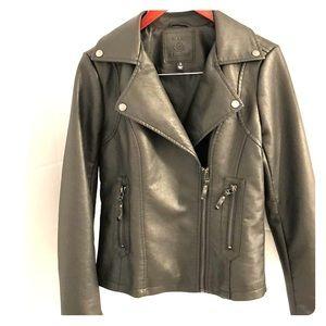 Max Studio faux leather moto jacket in dark grey.